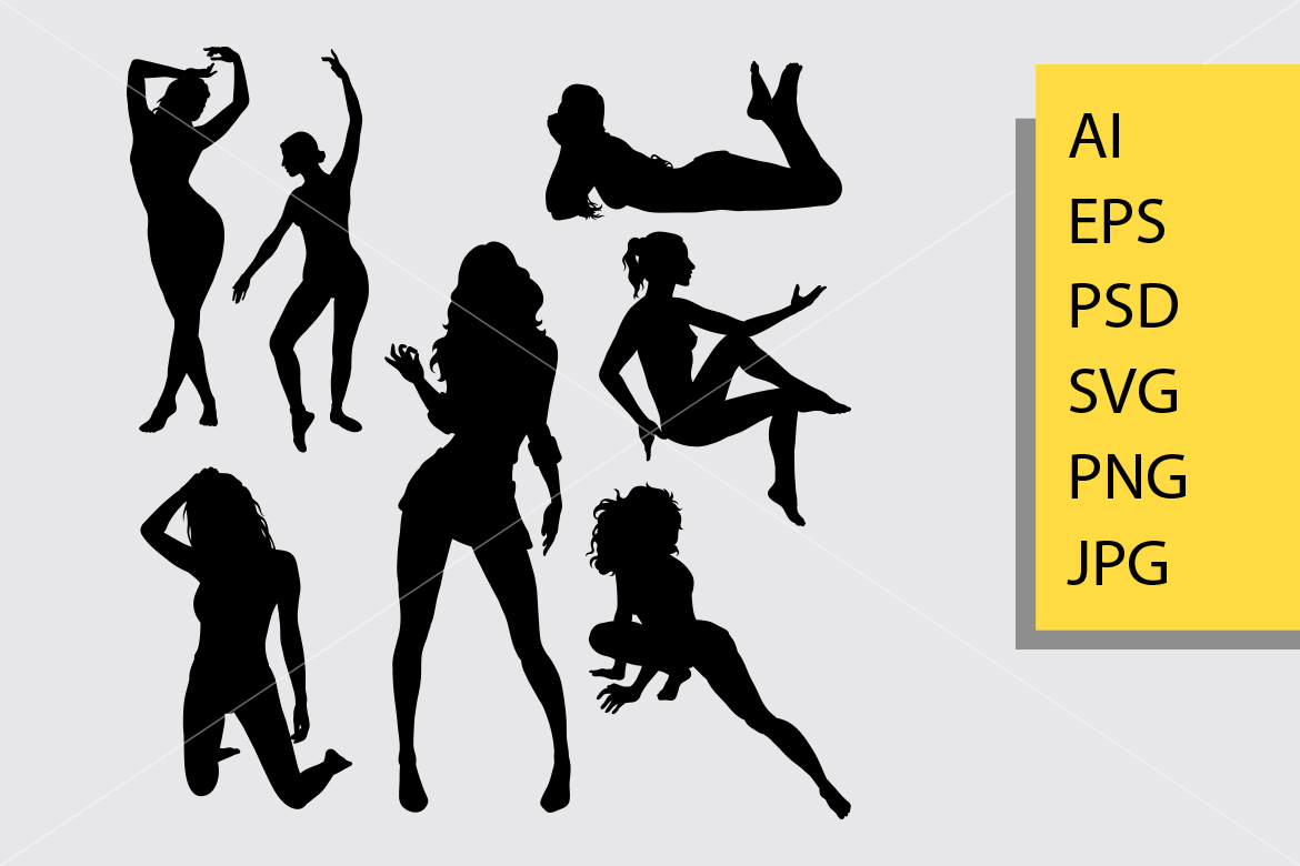 Download Free Sexy Girl 3 Silhouette Graphic By Cove703 Creative Fabrica for Cricut Explore, Silhouette and other cutting machines.