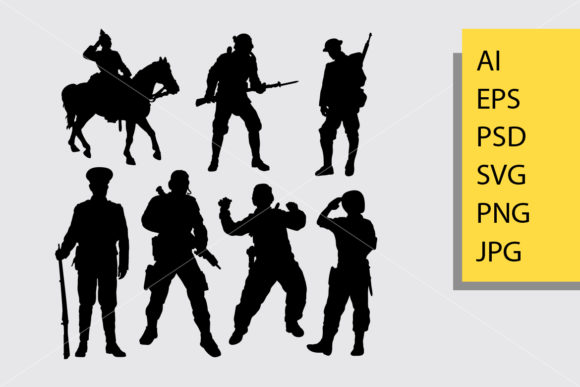 Soldier 2 Silhouette Graphic Illustrations By Cove703
