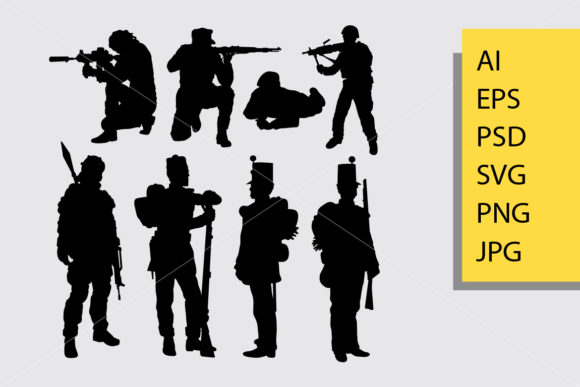 Soldier 3 Silhouette Graphic Illustrations By Cove703