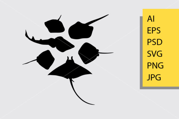 Stingray Fish Silhouette Graphic Illustrations By Cove703