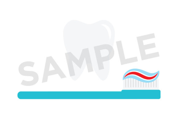 Tooth and Toothbrush Clip Art Graphic Design Item