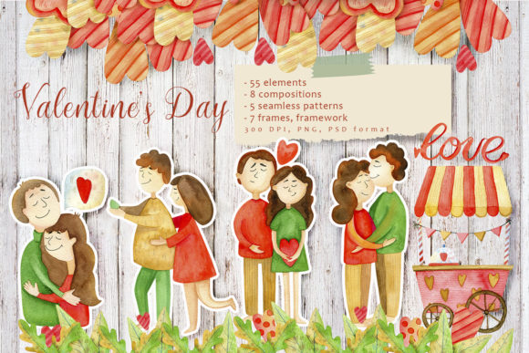 Valentines Day Watercolor Set Graphic By By Anna Sokol