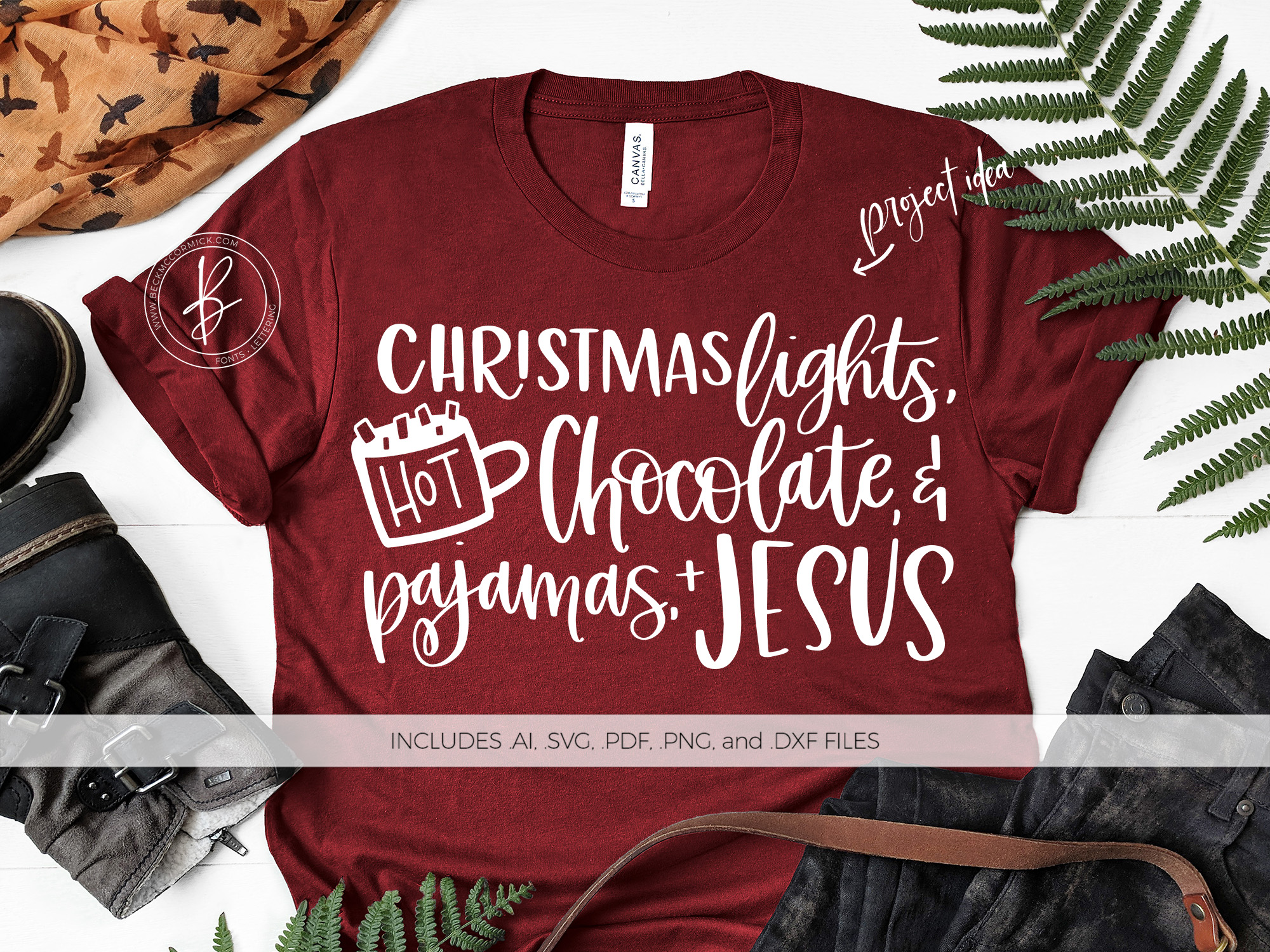 Download Free Christmas Lights Hot Chocolate Pajamas Graphic By Beckmccormick Creative Fabrica for Cricut Explore, Silhouette and other cutting machines.