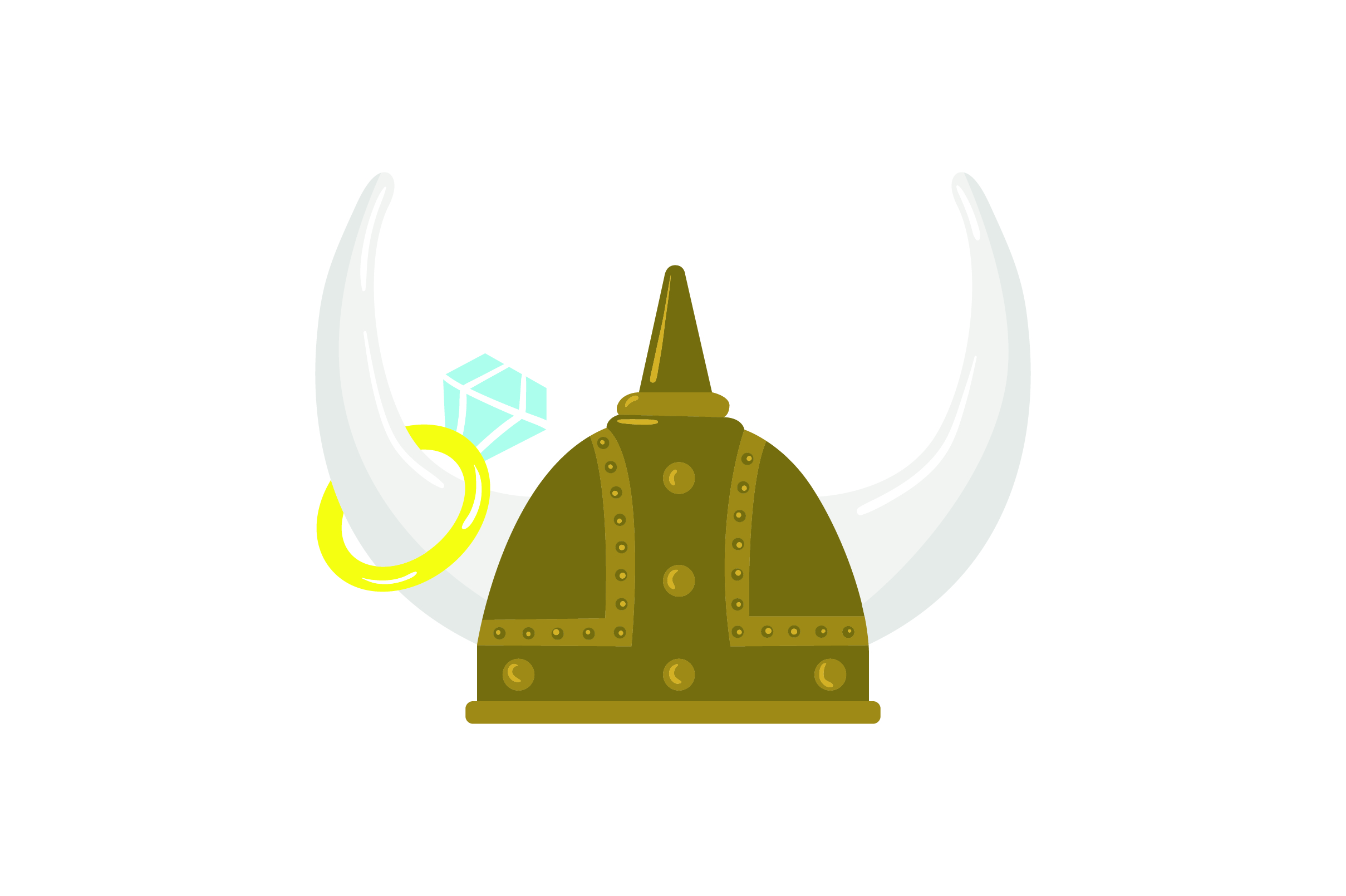Download Free Viking Helmet With Wedding Ring Hanging From Horn Svg Cut File for Cricut Explore, Silhouette and other cutting machines.