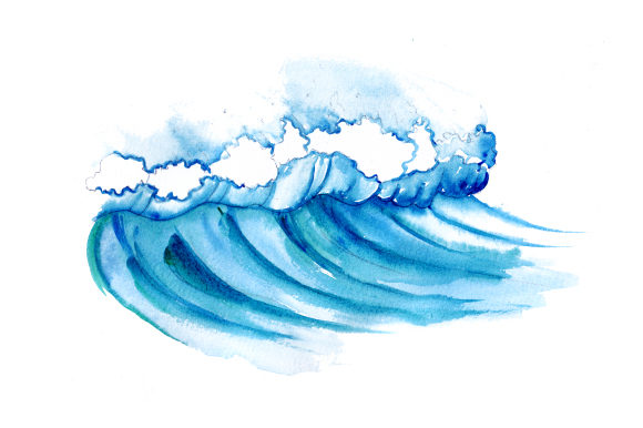 Wave in Watercolor Style Australia Craft Cut File By Creative Fabrica Crafts - Image 1