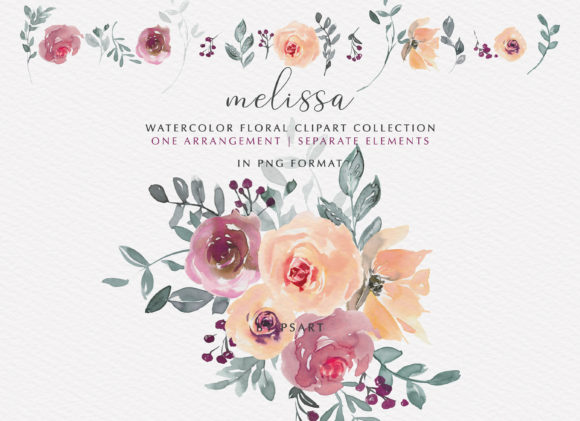 Peach & Mauve Watercolor Floral Clipart Graphic Illustrations By Patishop Art