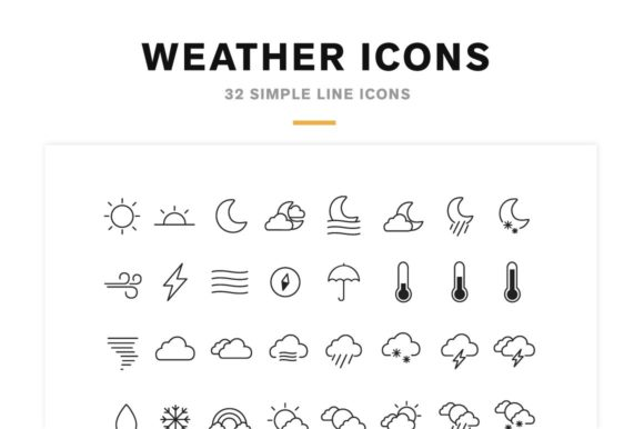 Weather Icons and Font Graphic Icons By cassandra