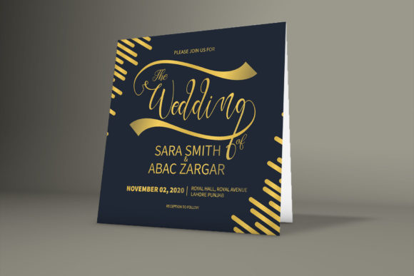 Print on Demand: Golden Wedding Card Mockup Template Graphic Graphic Templates By PatternHousePk