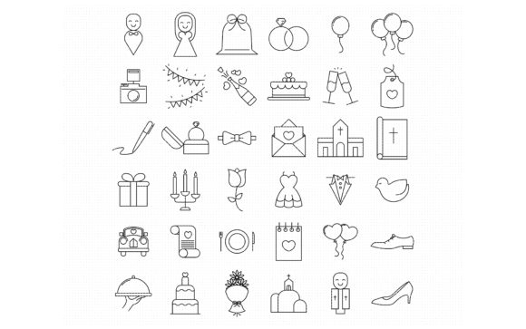 Print on Demand: Wedding, Proposal, and Engagement Icons Graphic Icons By CrafterOks