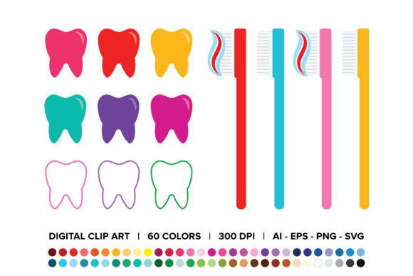 Print on Demand: Tooth and Toothbrush Clip Art Graphic Illustrations By Running With Foxes