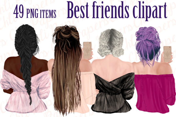 Best Friends Clipart Girls with Phones Graphic Illustrations By ChiliPapers