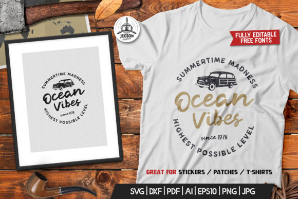 Ocean Vibes, Retro Surfing Print Design Graphic Logos By JeksonGraphics