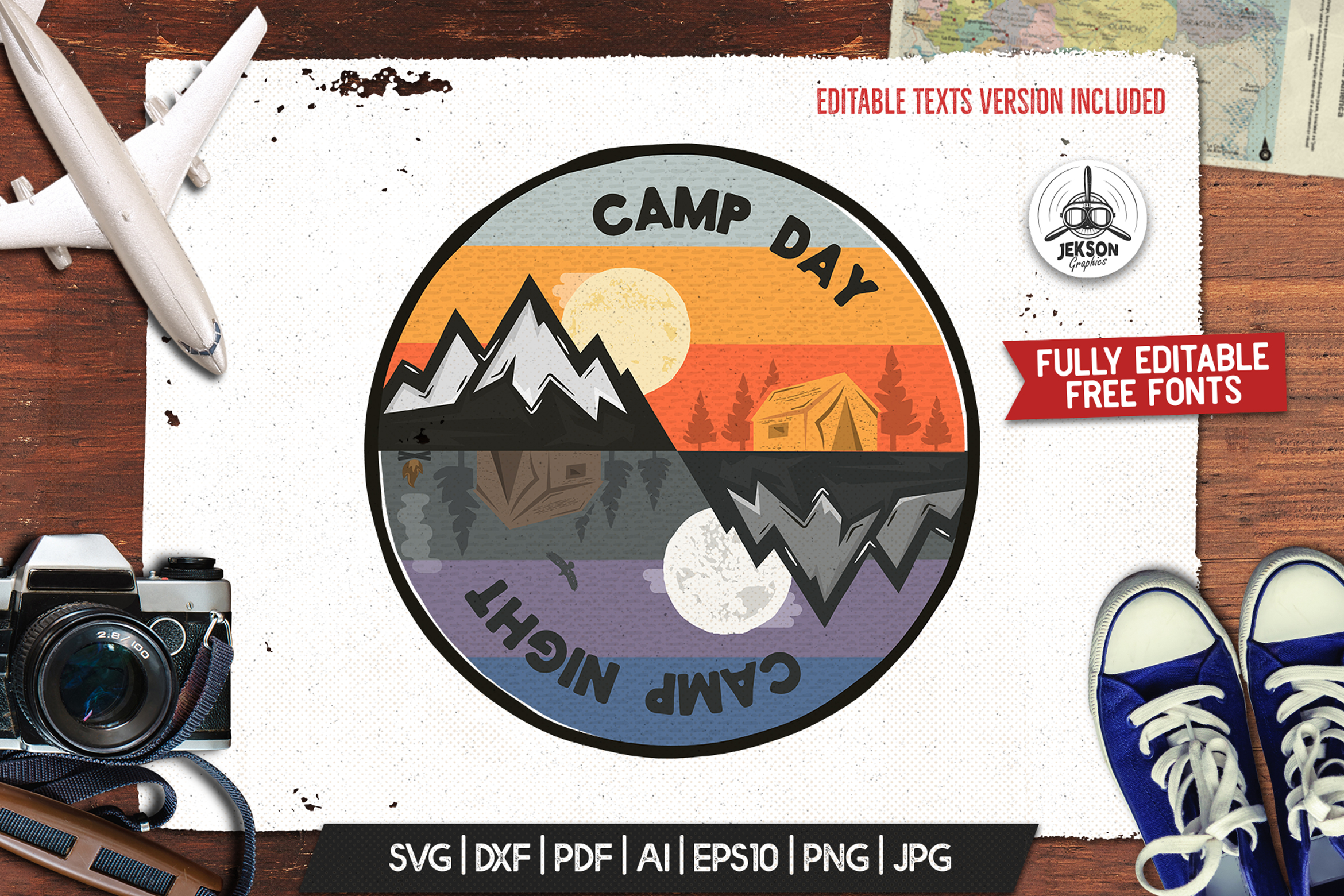 Camp Day Camping Night Adventure Logo Graphic By Jeksongraphics Creative Fabrica