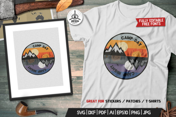 Download Free Camp Day Camping Night Adventure Logo Graphic By Jeksongraphics for Cricut Explore, Silhouette and other cutting machines.