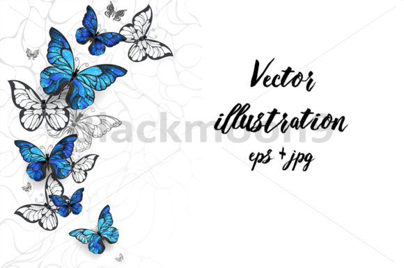 Flying Butterflies Morpho Graphic Illustrations By Blackmoon9