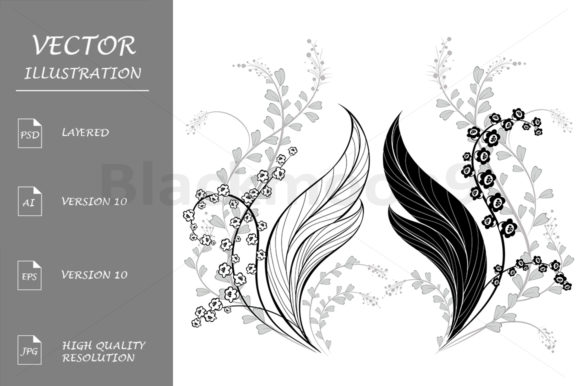 Silhouette of Lily of the Valley Graphic Illustrations By Blackmoon9