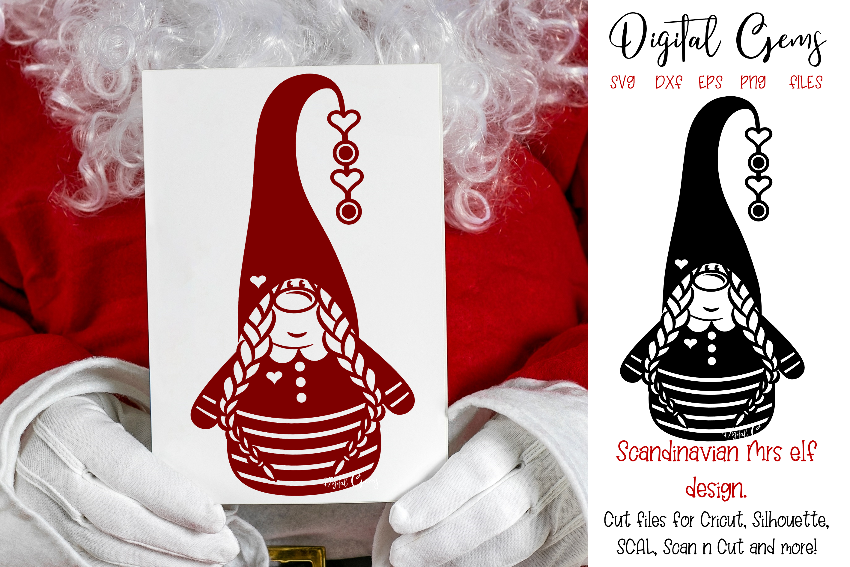 Download Free Scandinavian Mrs Elf Gnome Design Graphic By Digital Gems for Cricut Explore, Silhouette and other cutting machines.