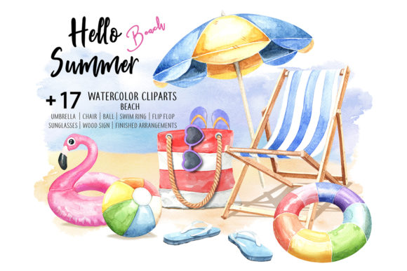 Print on Demand: Hello Summer Beach. Watercolor Beach Graphic Illustrations By SapG Art - Image 1