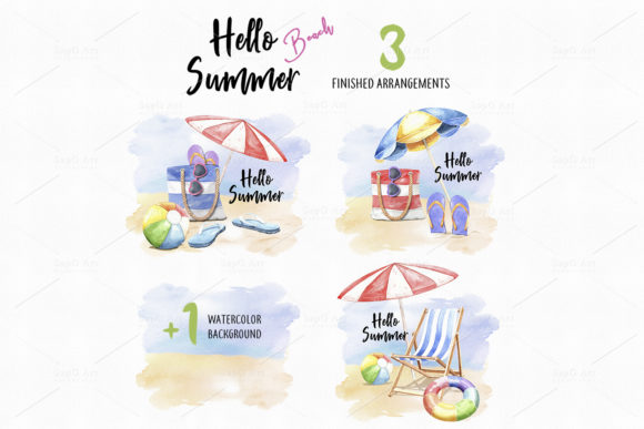 Print on Demand: Hello Summer Beach. Watercolor Beach Graphic Illustrations By SapG Art - Image 3