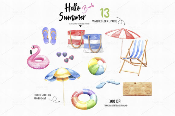 Download Free Hello Summer Beach Watercolor Beach Grafico Por Sapg Art for Cricut Explore, Silhouette and other cutting machines.