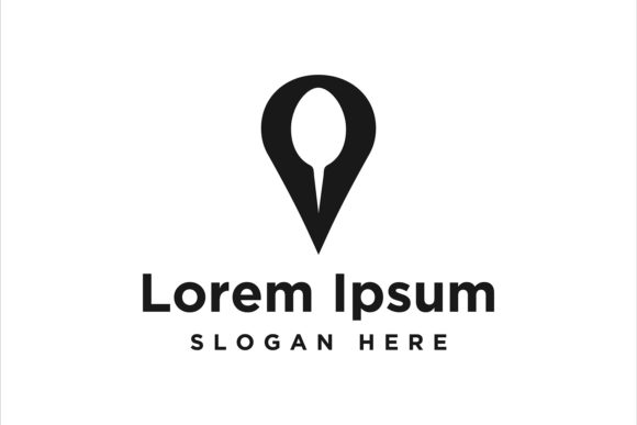 Print on Demand: Point Map and Spoon, Restaurant Logo Ins Graphic Logos By yahyaanasatokillah