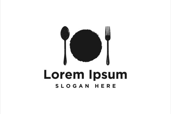 Print on Demand: Plate, Spoon and Fork, Restaurant, Food Graphic Logos By yahyaanasatokillah