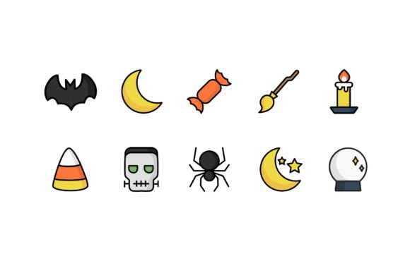 Download Free Illustrative Halloween Icons Graphic By Cassandra Cappello for Cricut Explore, Silhouette and other cutting machines.