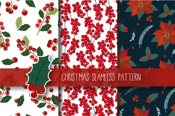 Print on Demand: Christmas Seamless Pattern Holly Berries Graphic Patterns By jannta