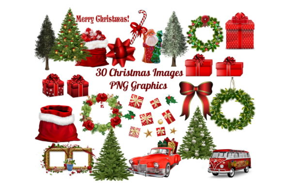 Print on Demand: 30 Christmas Clip Art Images PNG Bundle Graphic Illustrations By Scrapbook Attic Studio