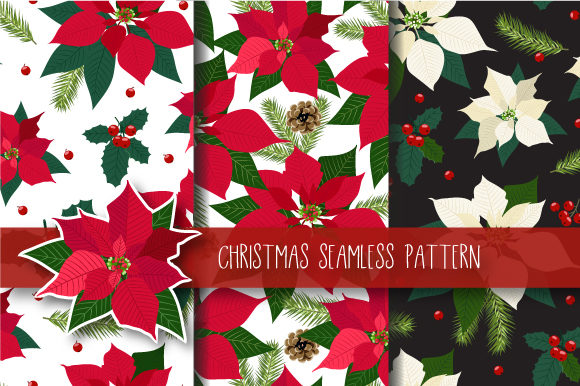 Print on Demand: Christmas Seamless Pattern Poinsettia Graphic Patterns By jannta