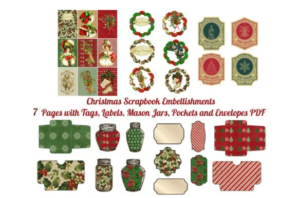 Print on Demand: 7 Christmas Scrapbook Add on Pages Graphic Illustrations By Scrapbook Attic Studio