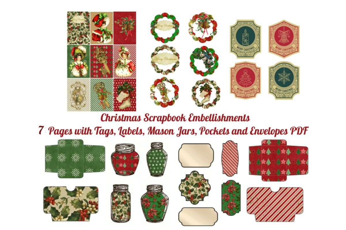 Download Free 7 Christmas Scrapbook Add On Pages Graphic By Scrapbook Attic Studio Creative Fabrica for Cricut Explore, Silhouette and other cutting machines.