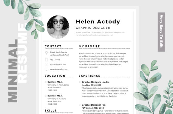 Minimal Pro CV Resume Template Graphic Print Templates By Infinity Vector