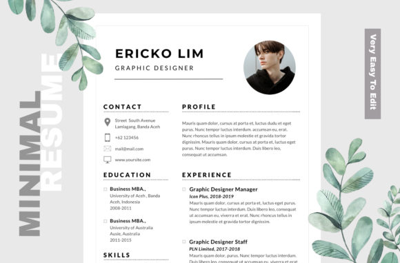 Download Free Minimal Cv Resume Template Graphic By Infinity Vector Creative for Cricut Explore, Silhouette and other cutting machines.