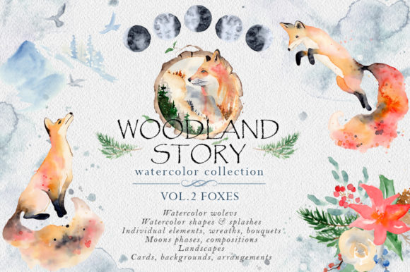 Woodland Story Vol.2 Foxes Graphic Illustrations By EvgeniiasArt