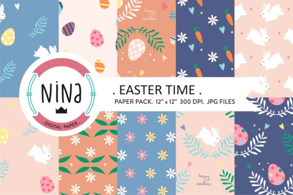 Easter Digital Paper Easter Time Bunny Graphic Patterns By Nina Prints
