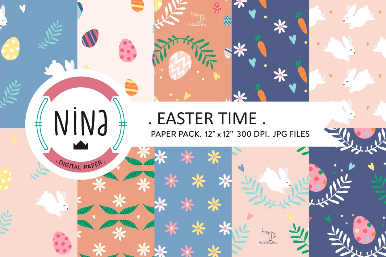 Download Free Easter Digital Paper Easter Time Bunny Graphic By Nina Prints for Cricut Explore, Silhouette and other cutting machines.