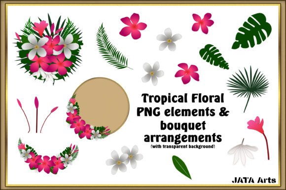 Print on Demand: Tropical Flowers Bouquet Graphic Illustrations By JATA Arts