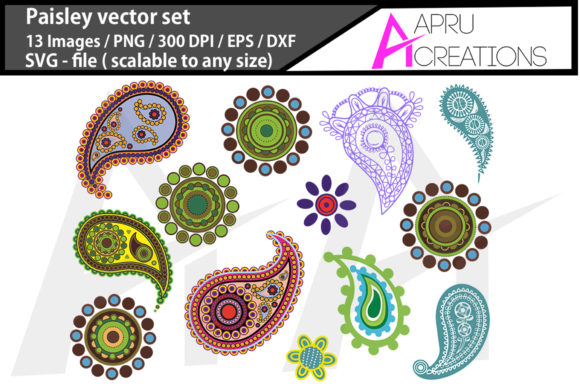 Print on Demand: Paisley Silhouette/ Paisley Graphic Icons By aparnastjp - Image 1
