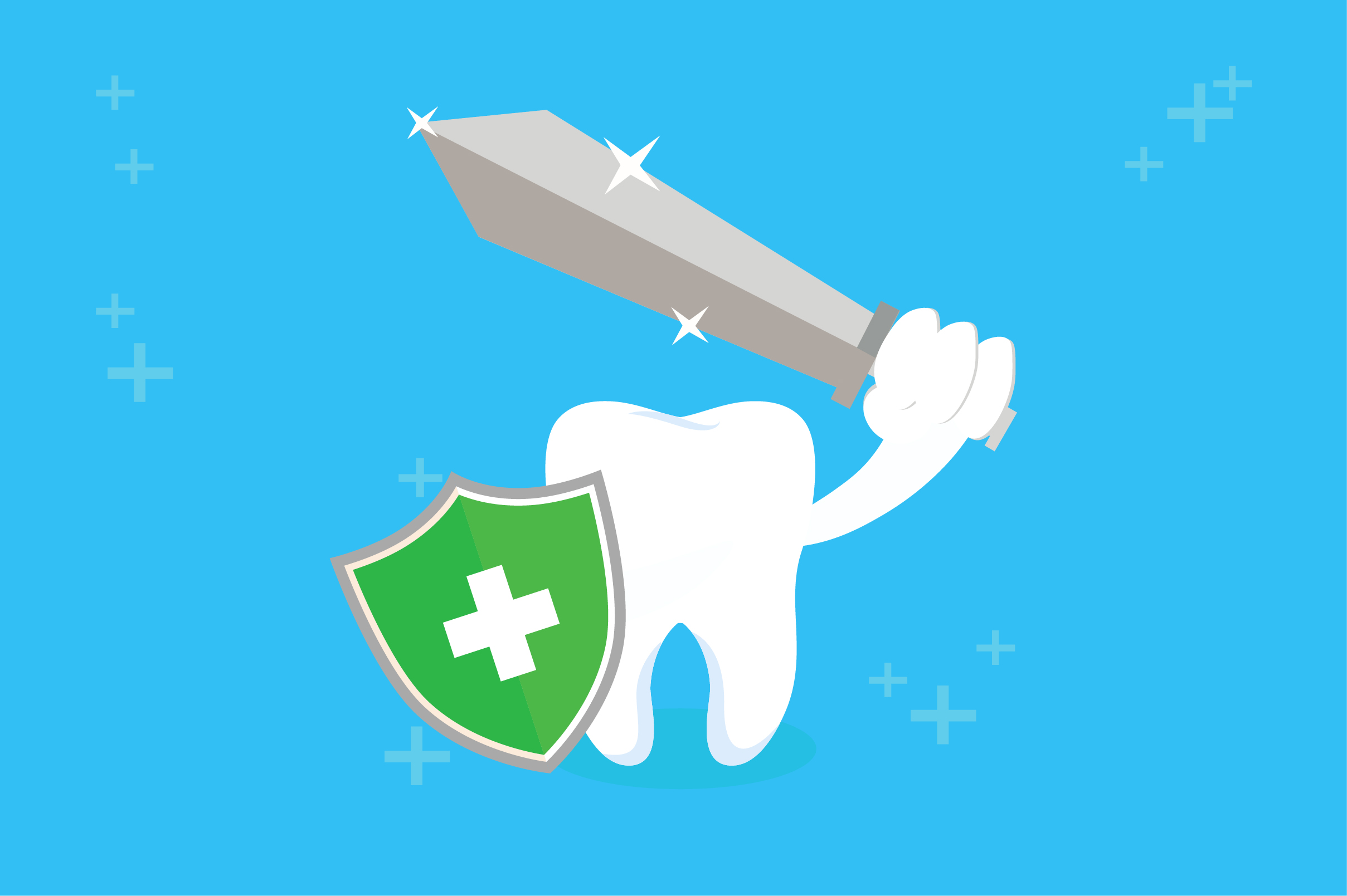 Download Free Healthy Tooth With Sword And Shield Graphic By Fatih Studio for Cricut Explore, Silhouette and other cutting machines.
