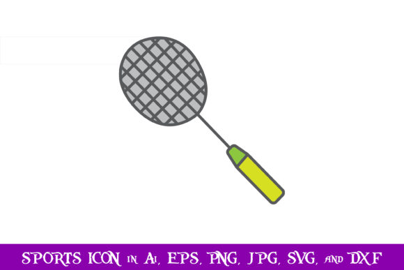 Download Free Badminton Racket Sport Icon Graphic By Purplespoonpirates for Cricut Explore, Silhouette and other cutting machines.