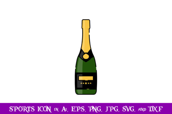 Download Free Champagne Sport Icon Graphic By Purplespoonpirates Creative for Cricut Explore, Silhouette and other cutting machines.