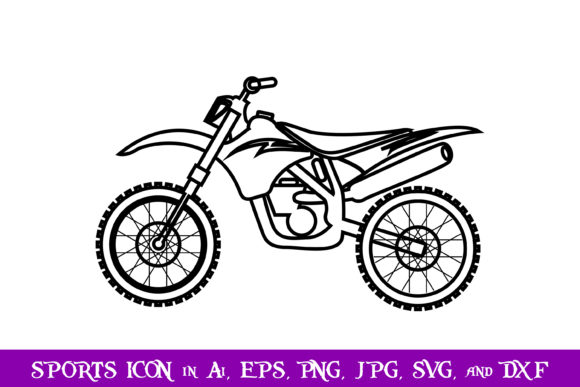 Download Free Dirt Bike Sport Icon Graphic By Purplespoonpirates Creative for Cricut Explore, Silhouette and other cutting machines.