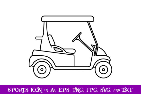 Download Free Golf Cart Sport Icon Graphic By Purplespoonpirates Creative for Cricut Explore, Silhouette and other cutting machines.
