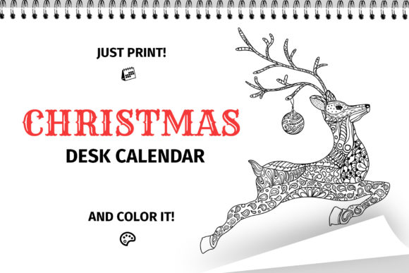 Download Free Christmas Coloring Desk Calendar 2020 Graphic By Ilonitta R for Cricut Explore, Silhouette and other cutting machines.