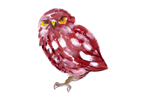 Owl in Gouache Style Animals Craft Cut File By Creative Fabrica Crafts - Image 1