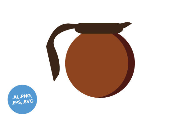 Download Free Brown Coffee Pot Flat Icon Graphic By Sasongkoanis Creative for Cricut Explore, Silhouette and other cutting machines.