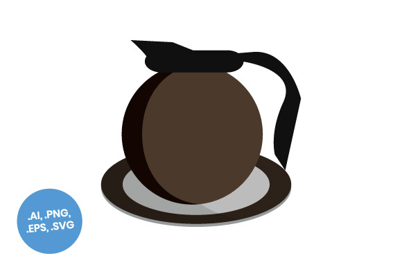 Download Free Dark Brown Coffee Pot Flat Icon Graphic By Sasongkoanis for Cricut Explore, Silhouette and other cutting machines.