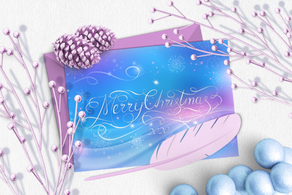 Merry Christmas Calligraphy Gift Card Graphic Illustrations By ilonitta.r - Image 1