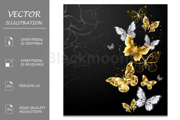 Gold and White Butterflies Graphic Illustrations By Blackmoon9